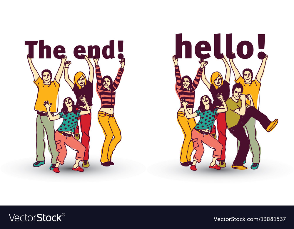 The end and hello sign team group business people