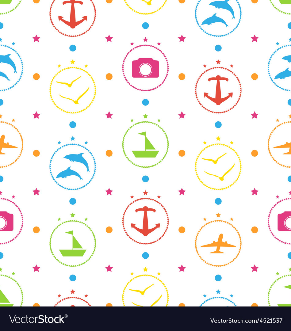 Travel Seamless Pattern with Colorful Elements