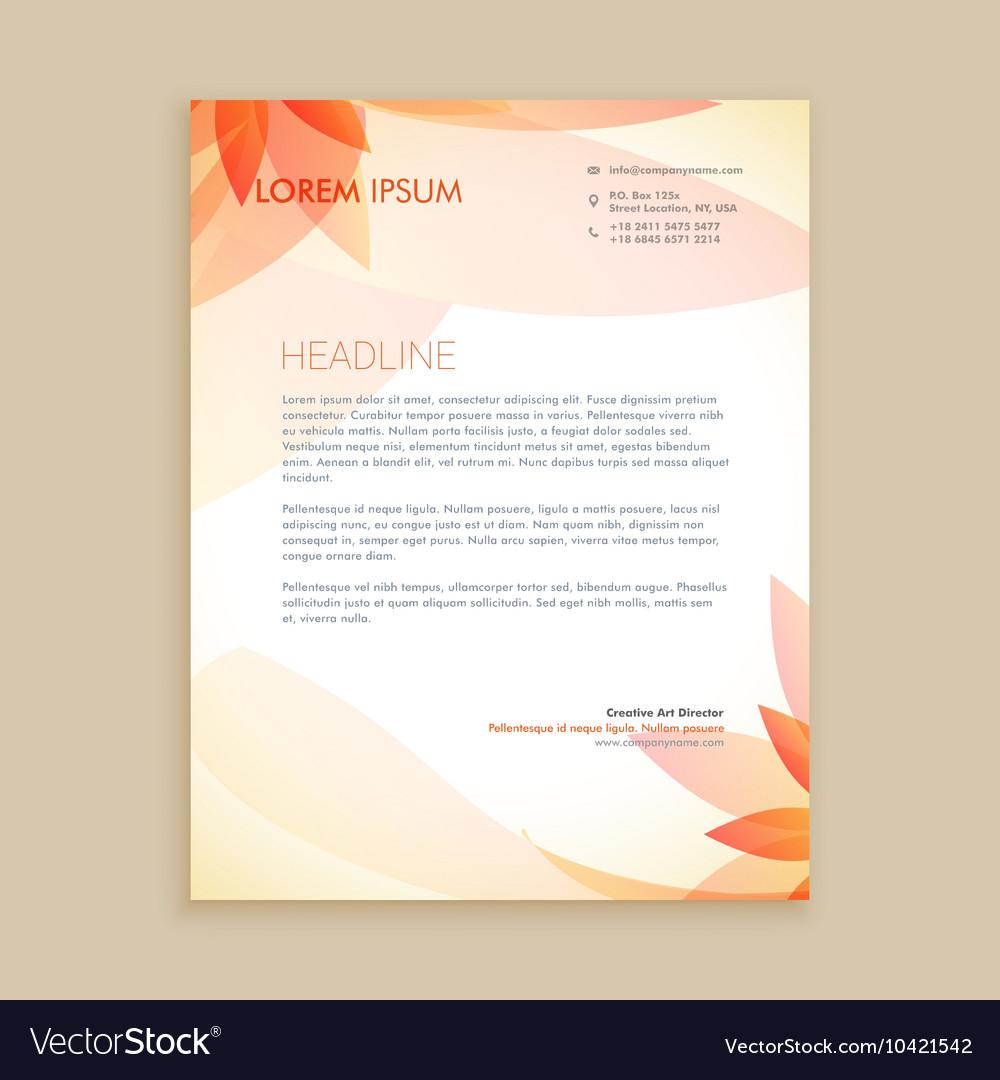 Free Online Letterhead Maker With Stunning Designs: Beautiful Orange Flower Letterhead Design Vector Image