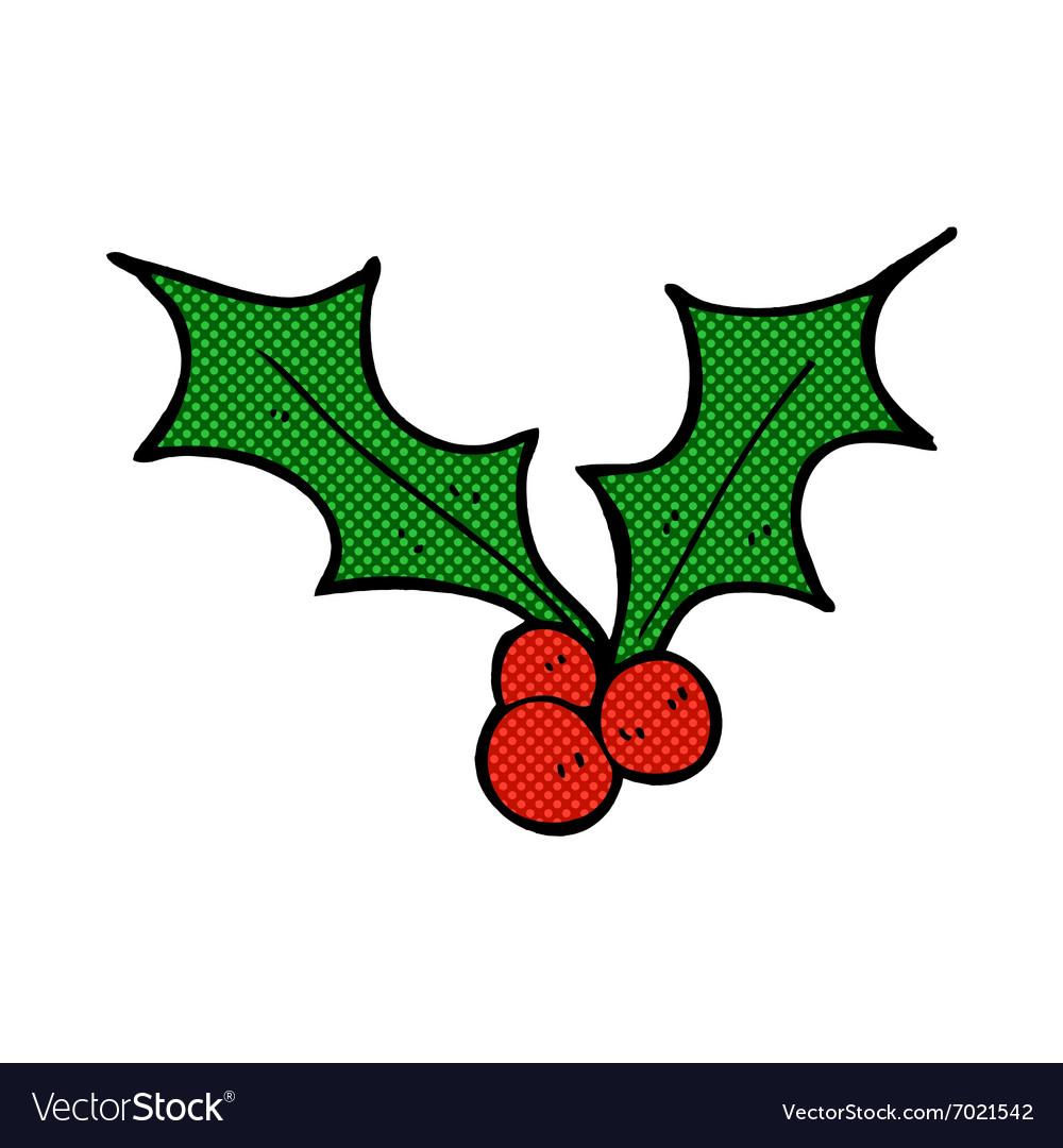 Christmas Holly Vector.Comic Cartoon Christmas Holly