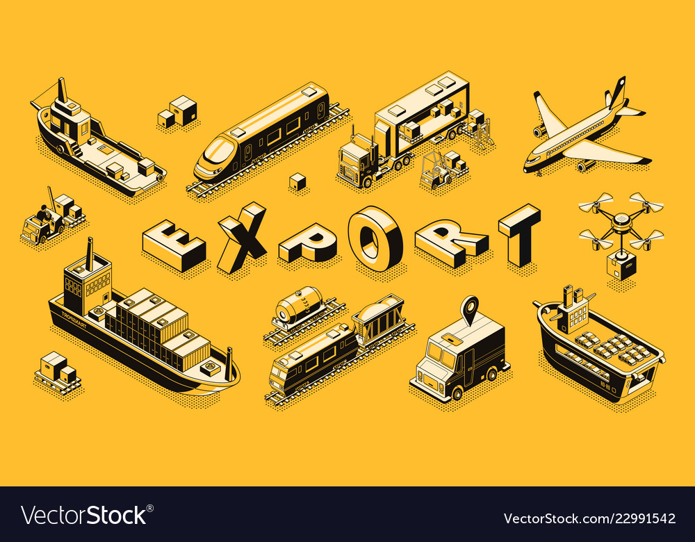 Commercial cargo export isometric concept