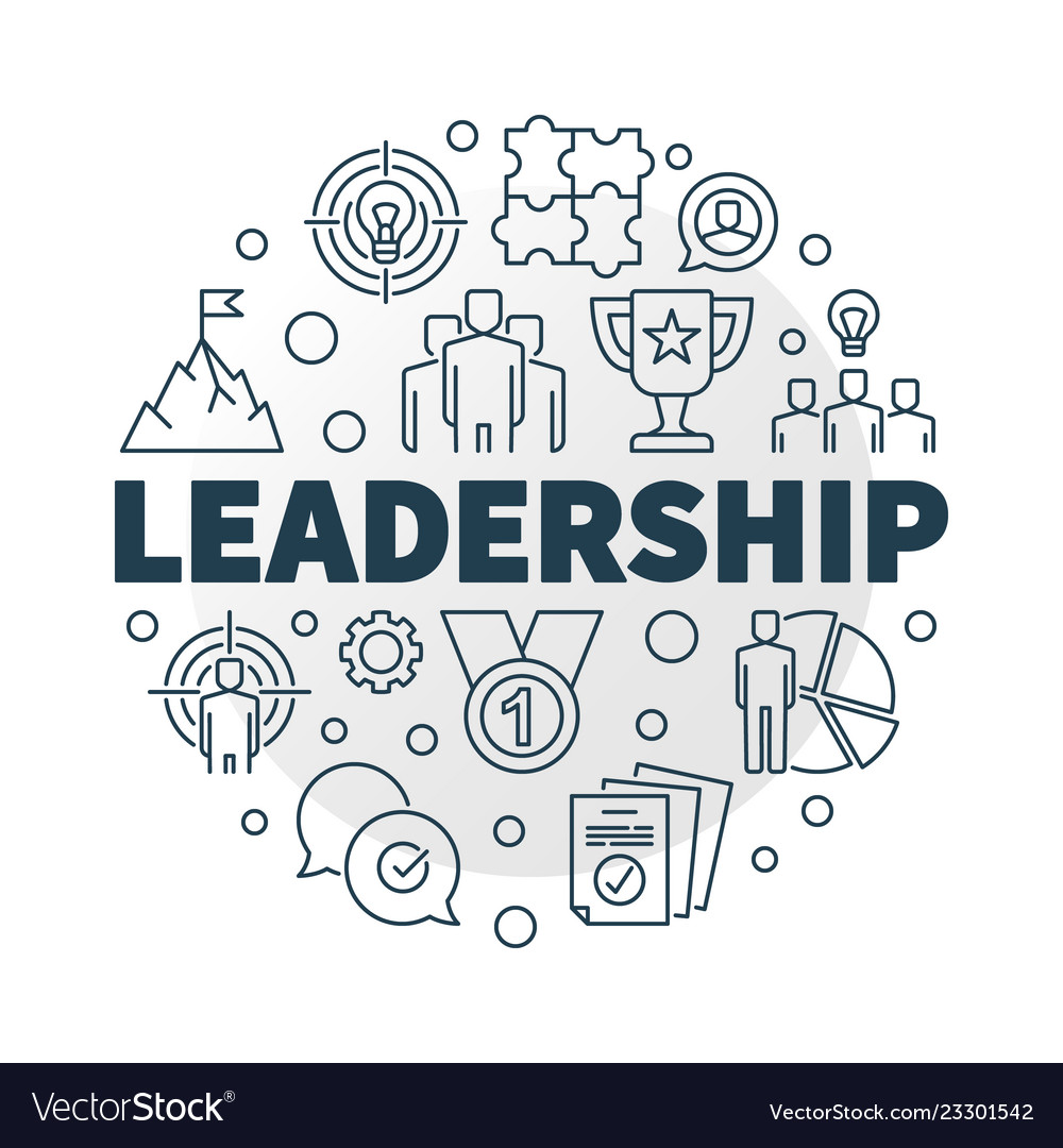 Leadership Round In Outline Royalty Free Vector Image