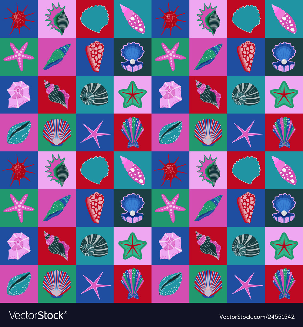 Seamless pattern with seashells and starfishes