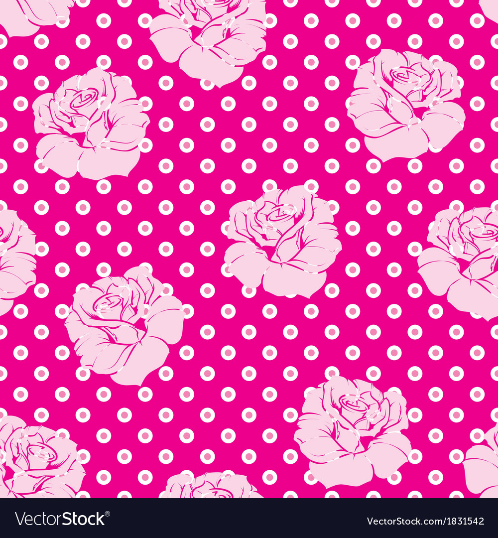 Seamless pink roses and white dots pattern