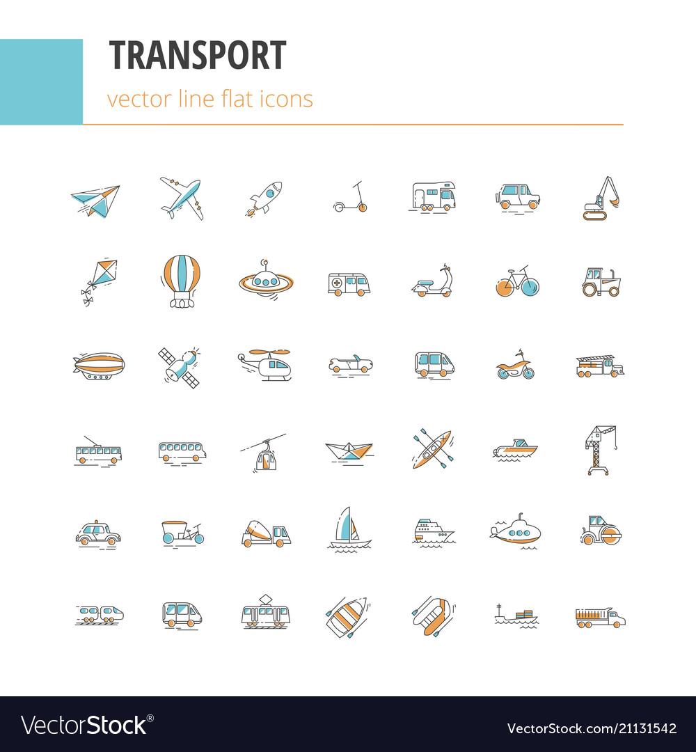 Set line icons in flat design transport