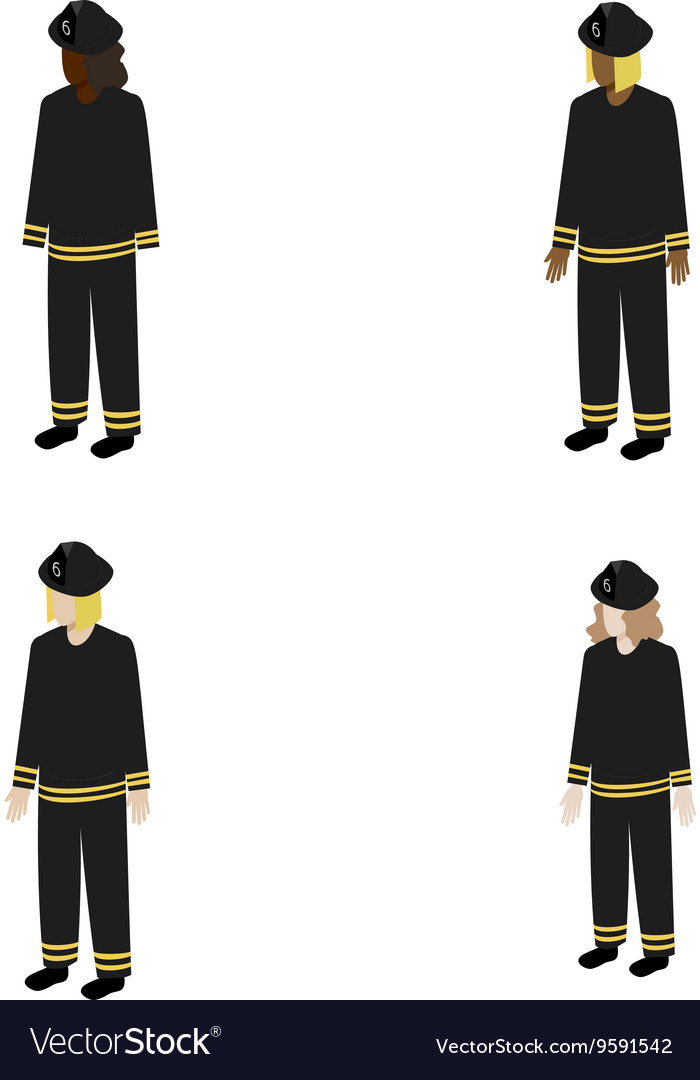 Set of isometric firefighters