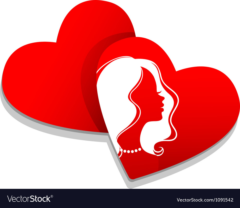 Silhouette hearts vector image