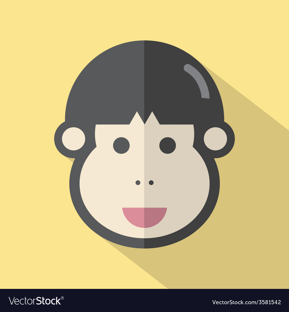 Single Young Mans Face Flat Design Icon