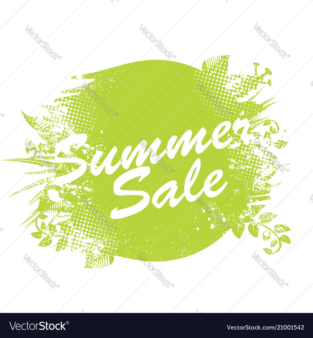 Summer sale label watercolor badge with ink