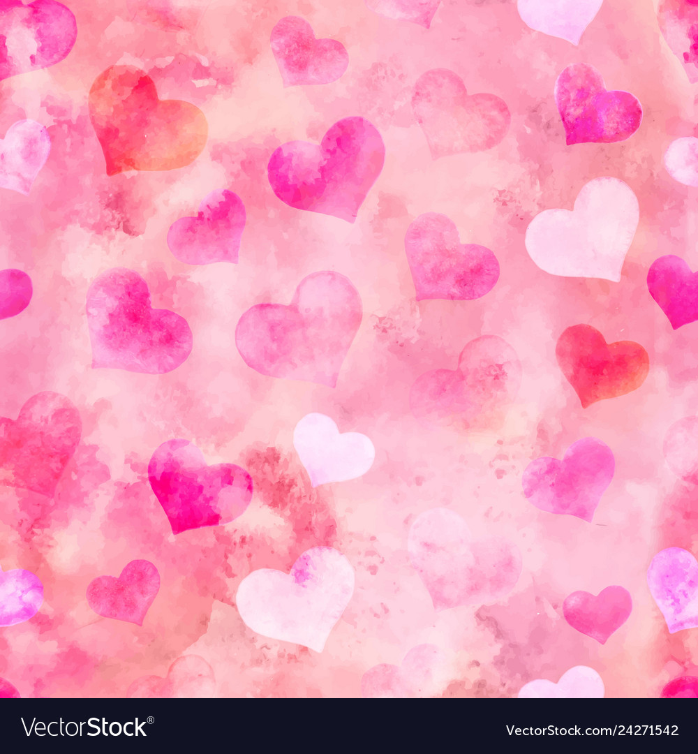 Watercolor hearts for st valentine s day