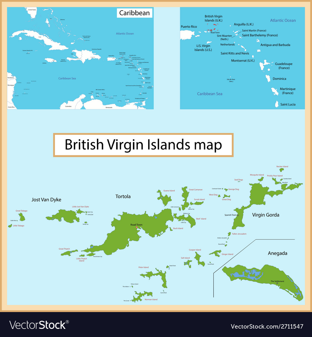 British Virgin Islands map Royalty Free Vector Image