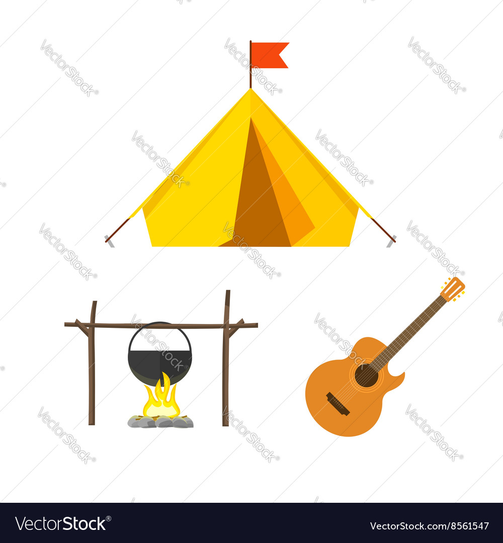 Camping equipment set isolated on white