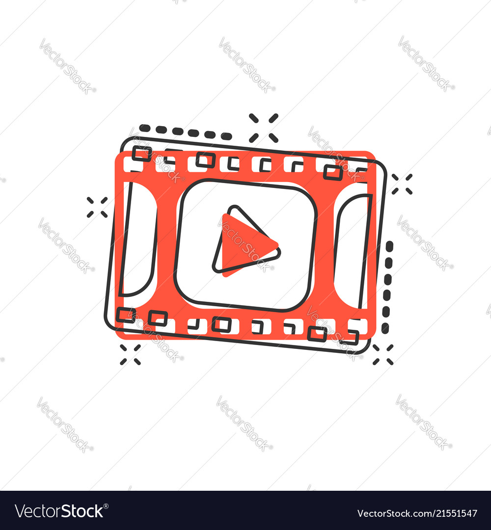 Cartoon play button icon in comic style play