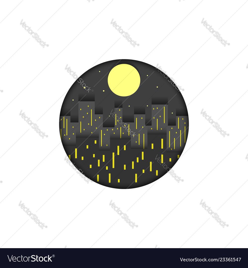 City logo round shape mockup creative paper cut