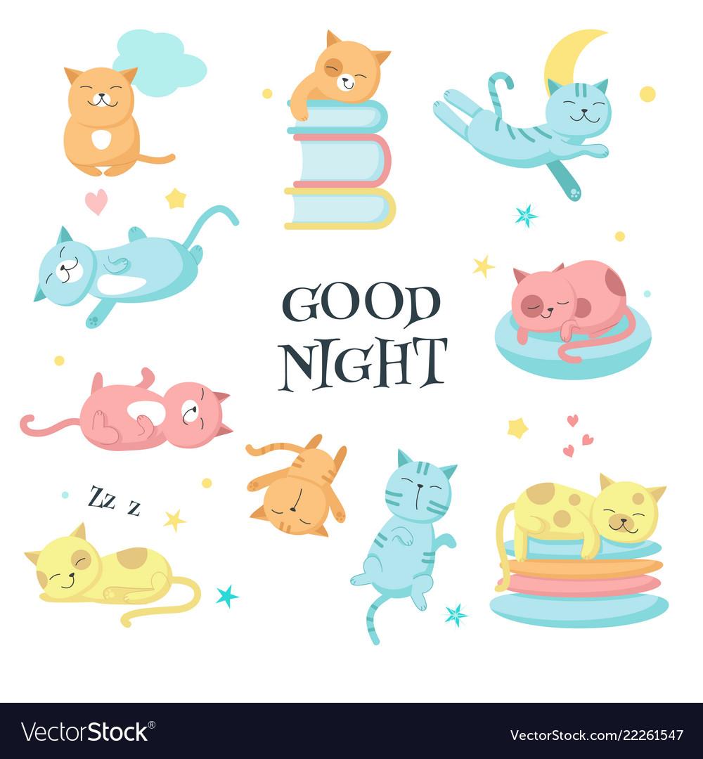 Cute sleeping pet cats icon set