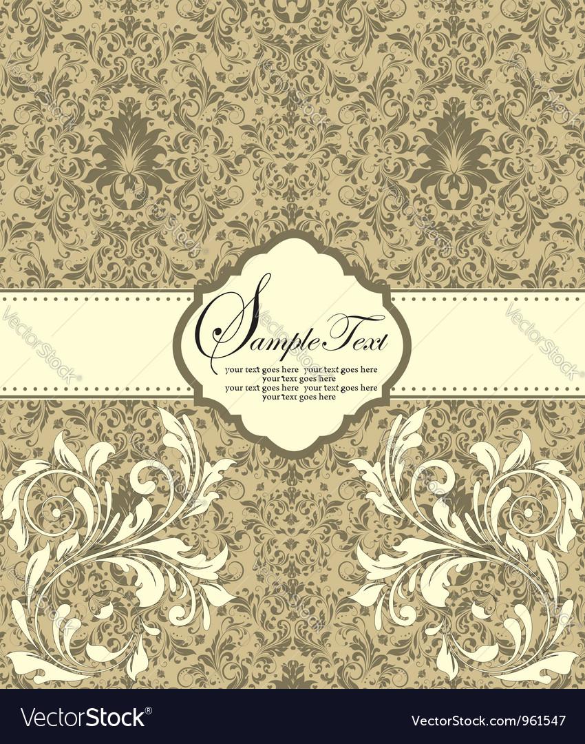 Damask invitation floral card