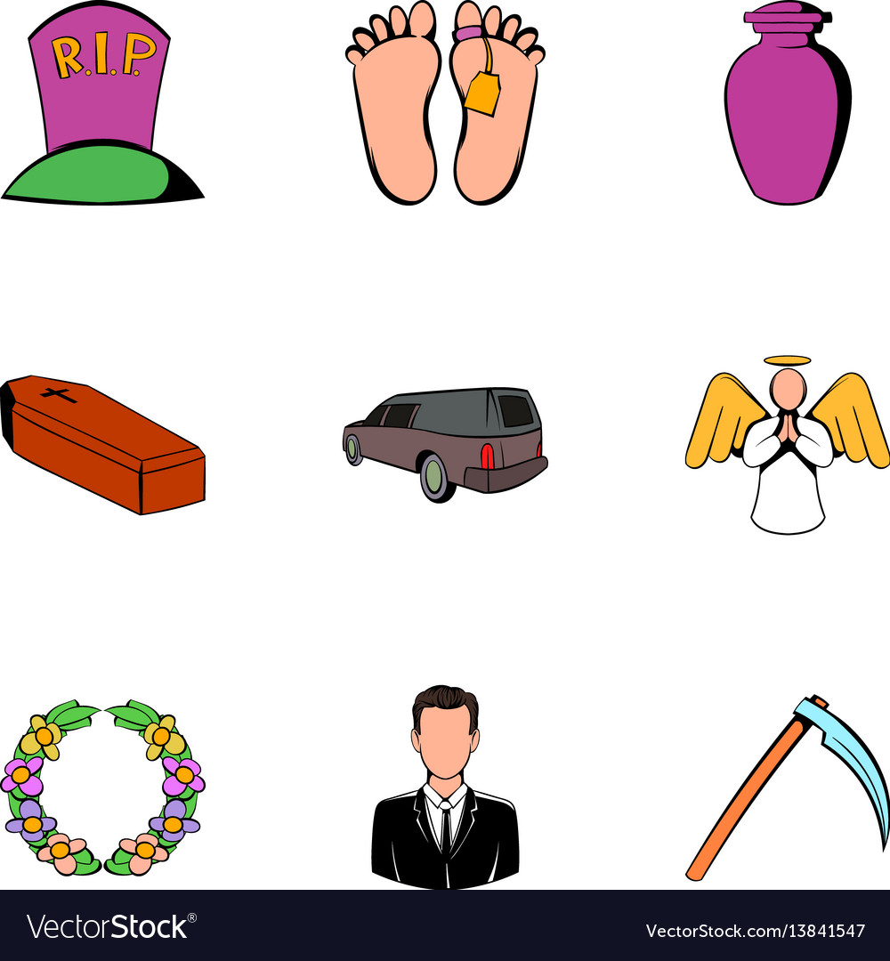 Death icons set cartoon style