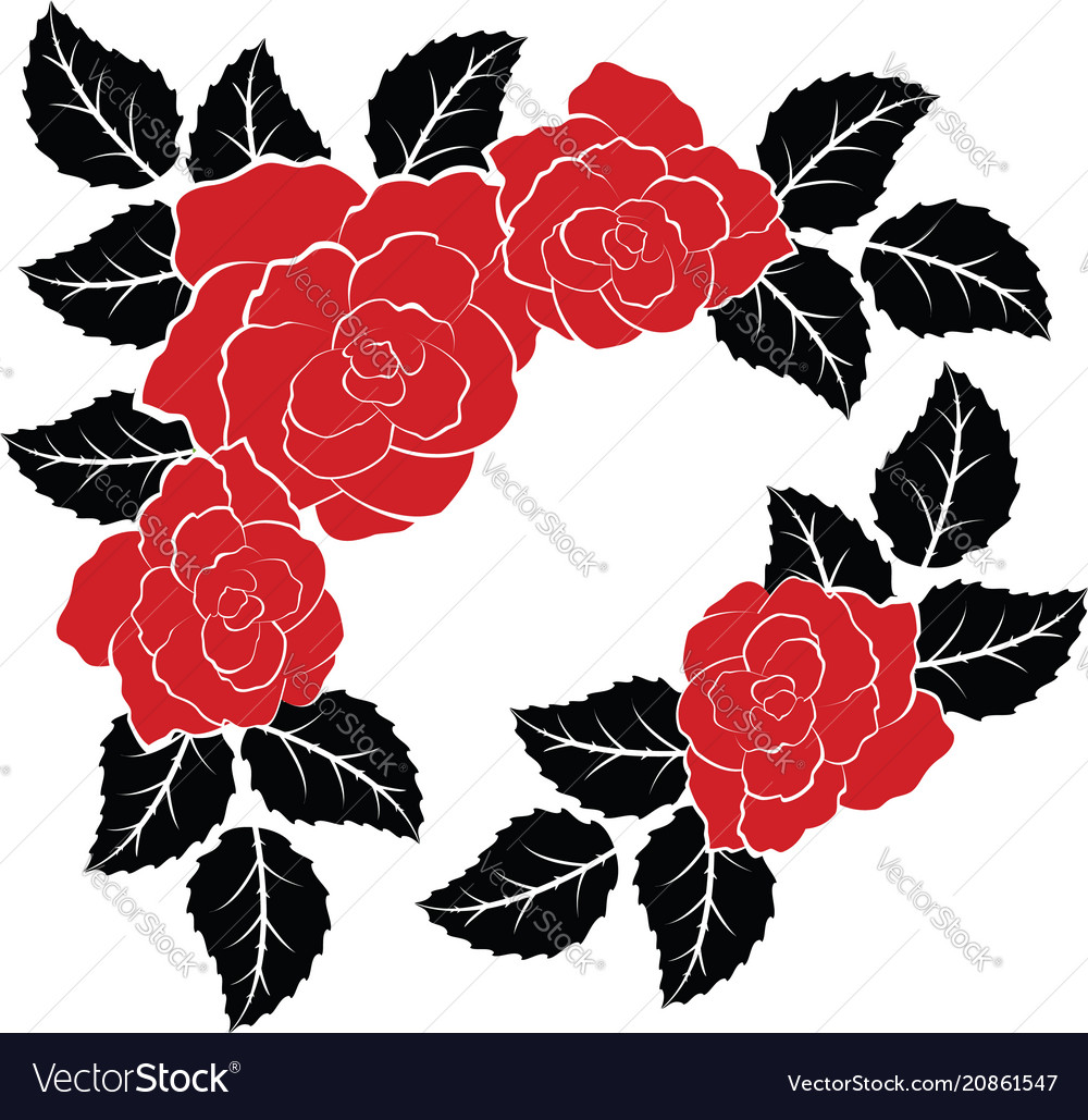 Decoration with red roses and black leaves