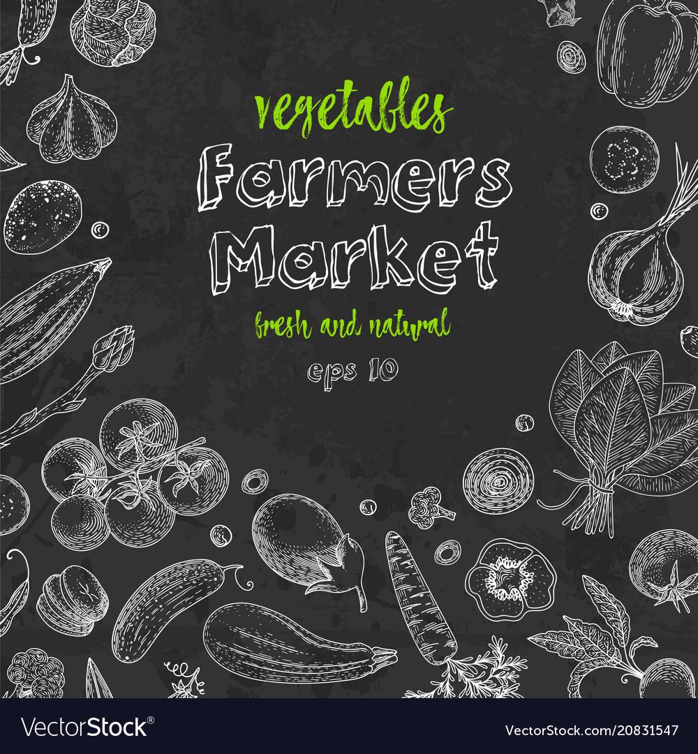 Fresh vegetables hand drawn frame