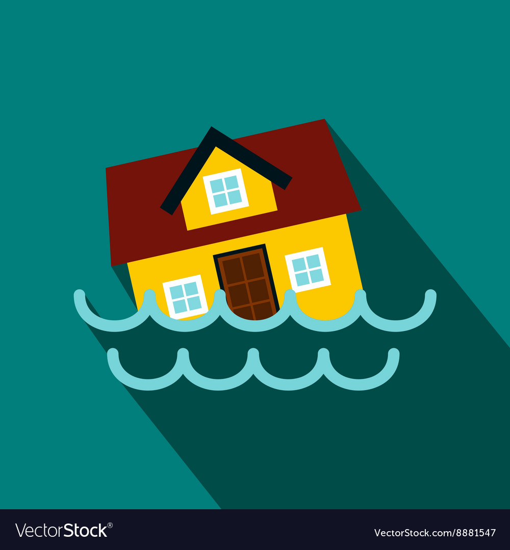House sinking in a water icon flat style