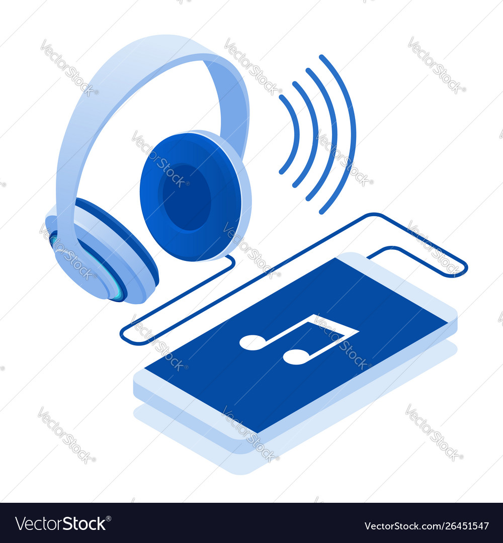Isometric headphones isolated on a white