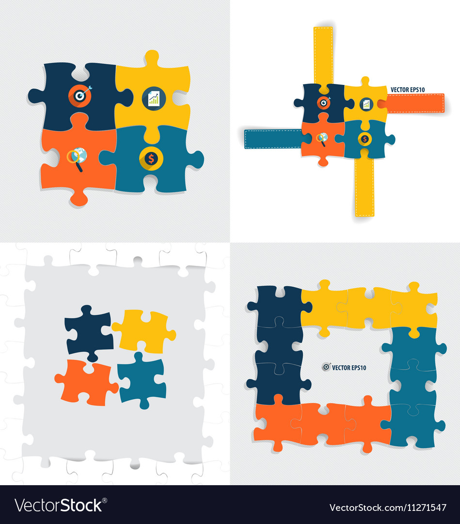 Modern infographics template style Business puzzle