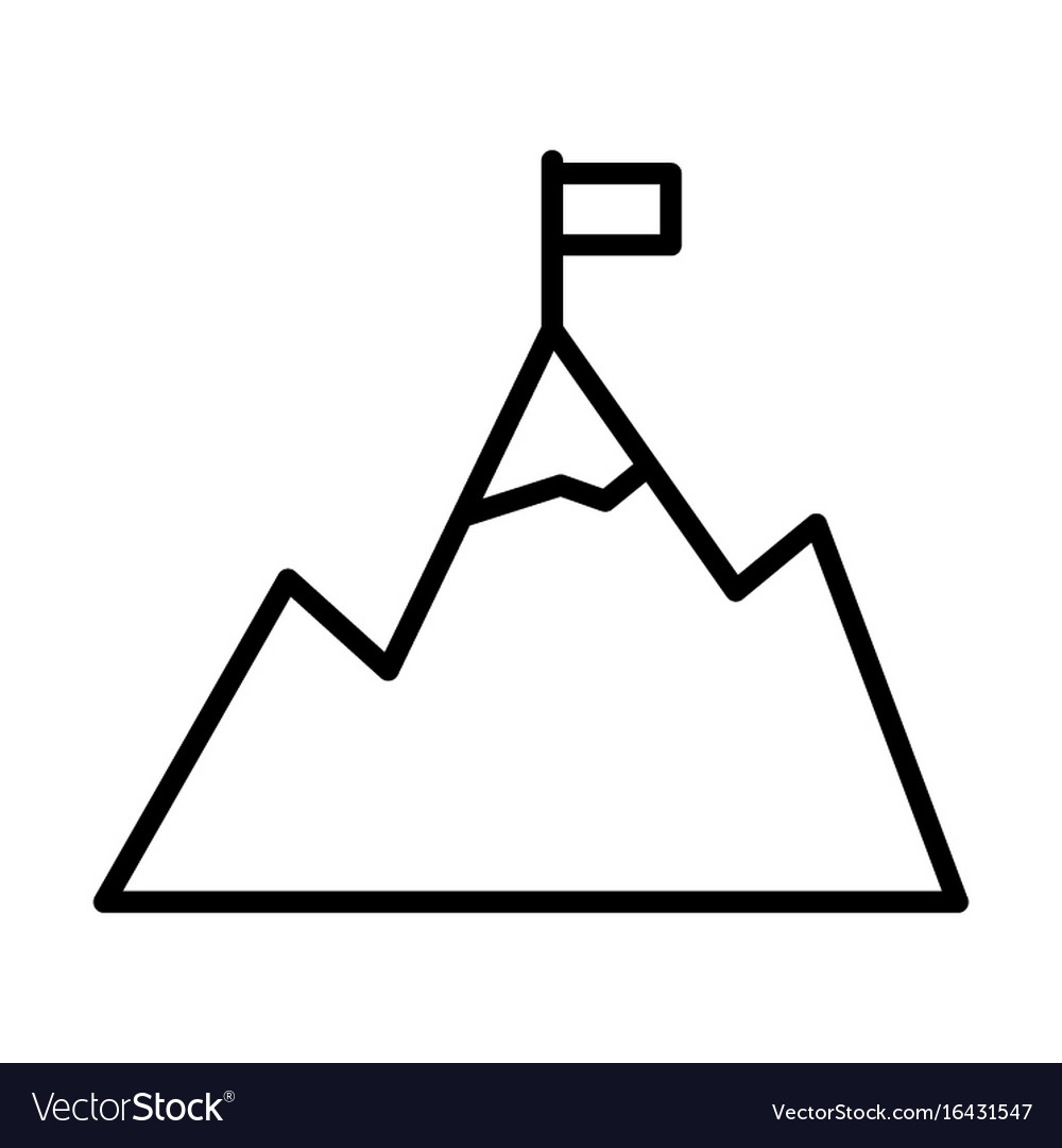 Mountains with flag on peak line icon goal