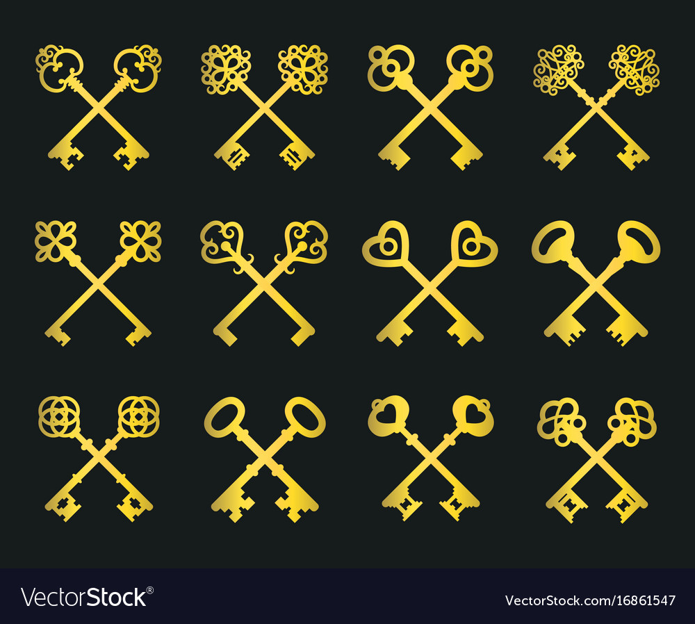 Old golden crossed keys set vector image