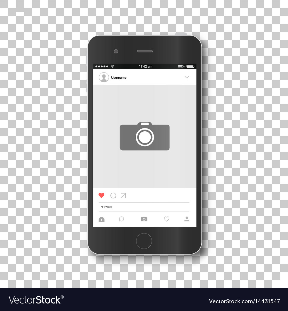 Phone with social network photo frame Royalty Free Vector