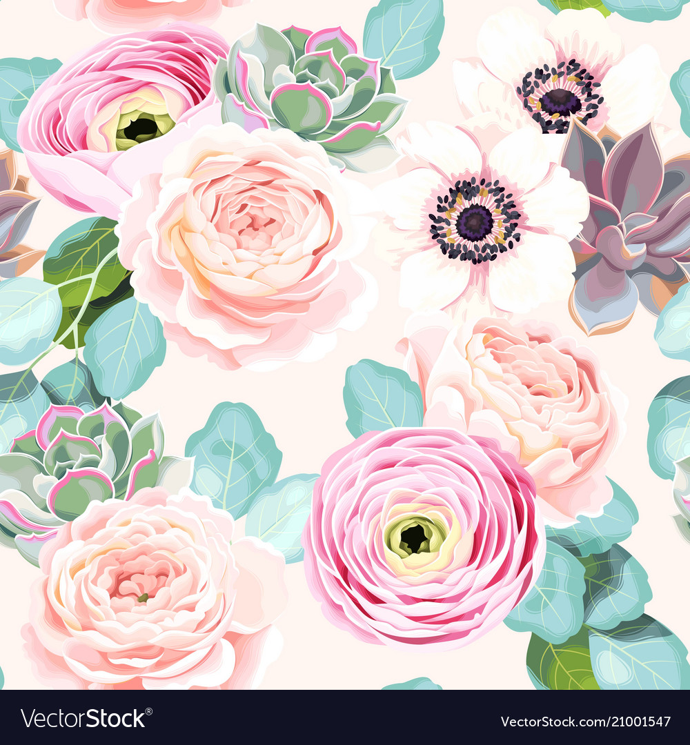 Seamless Flowers And Succulents Vector Image
