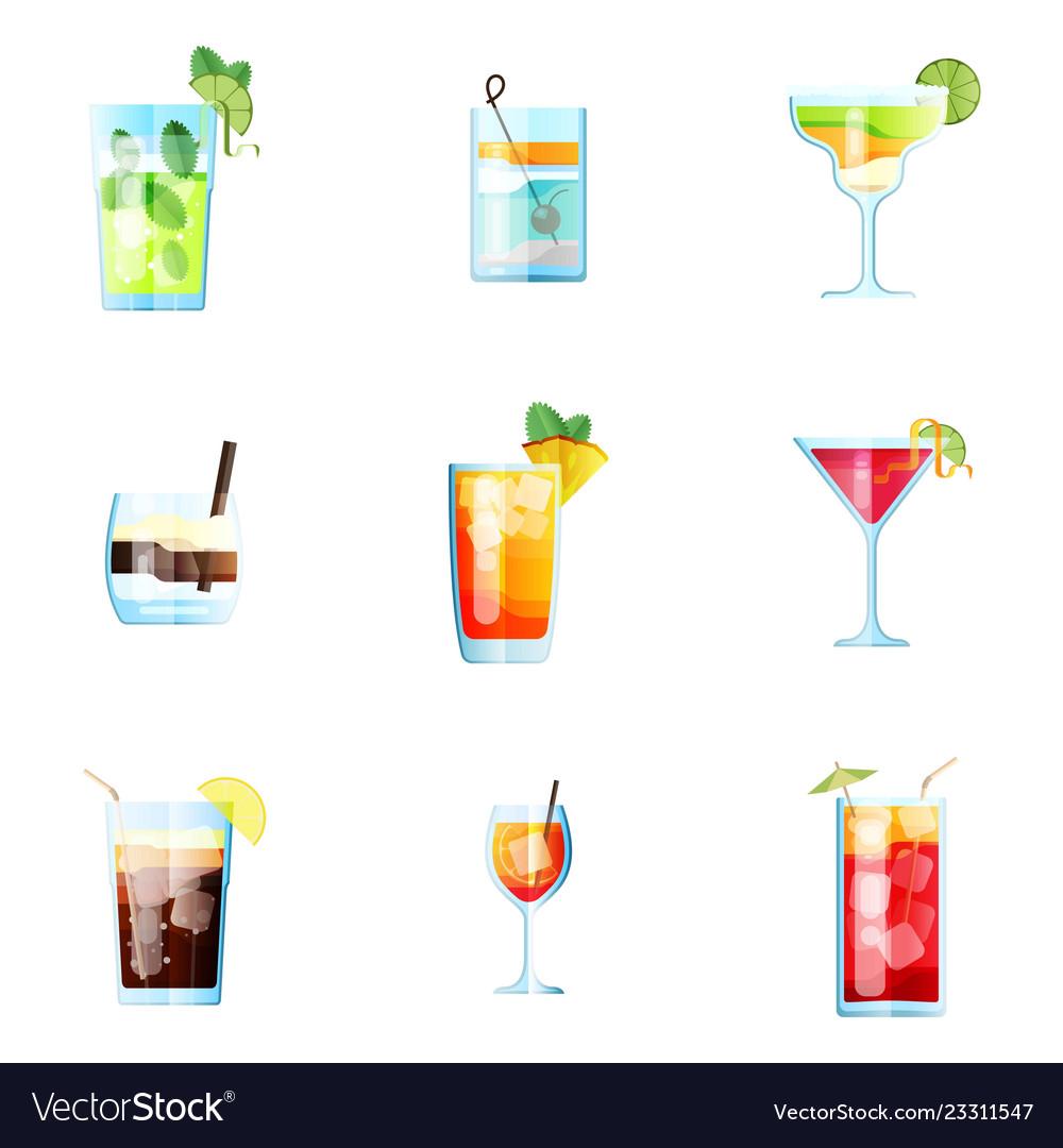 Set nine tropical cocktails mojito tom