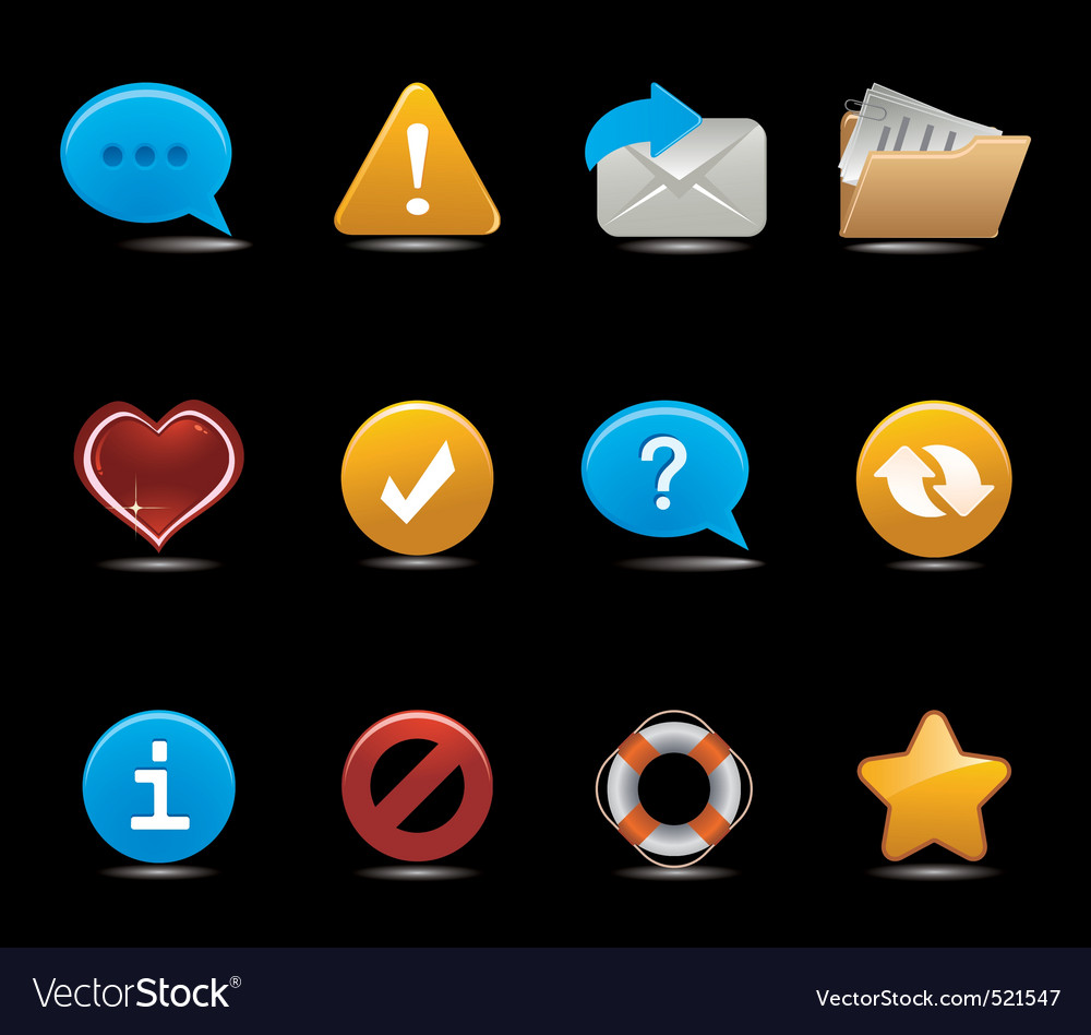 Set of icons on black vector image