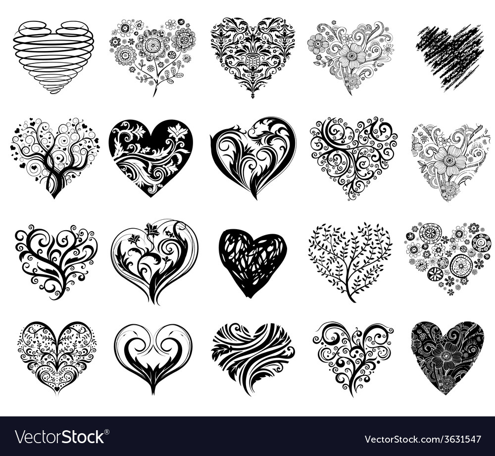 Tattoo Hearts Royalty Free Vector Image Vectorstock The heart is the most well, heart tattoos with cool patterns like this are what many individuals crave. vectorstock