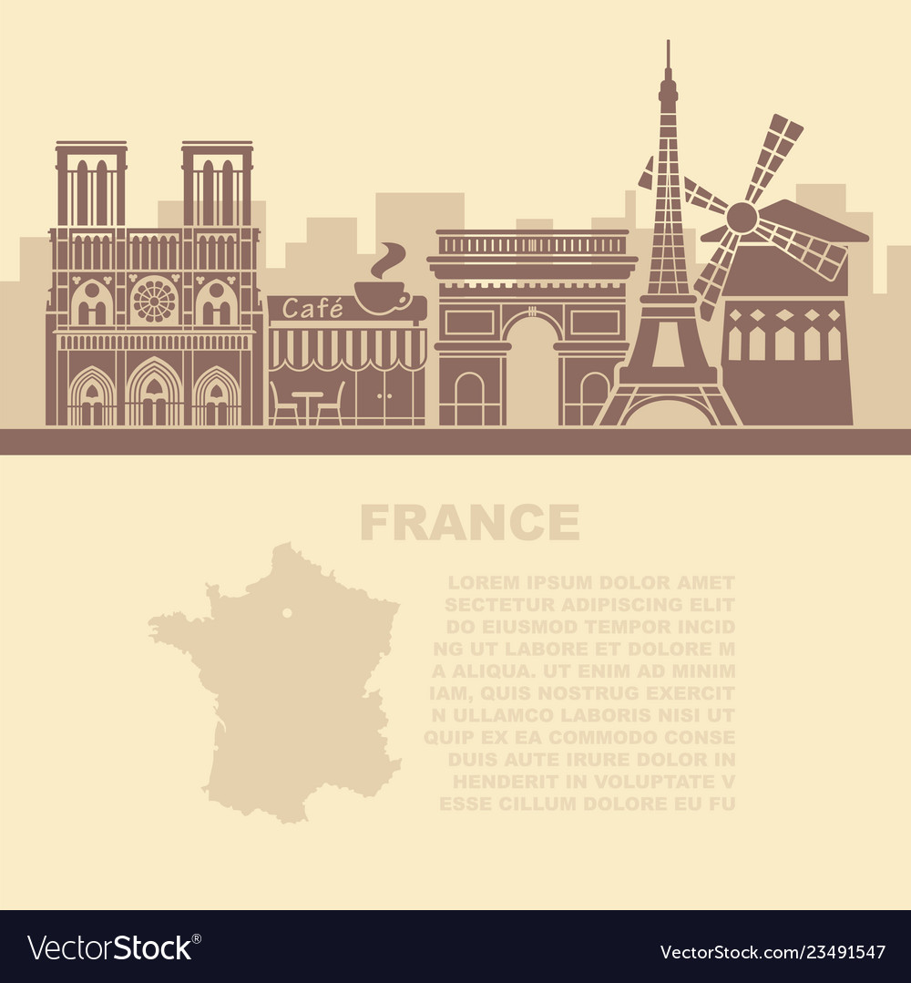 Template leaflets with a map of france and