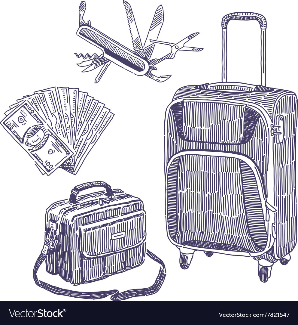 travel objects drawings set royalty free vector image