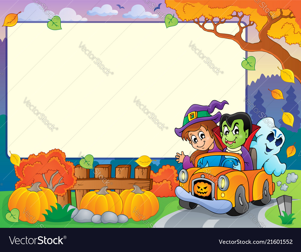 Autumn Frame With Halloween Theme 3 Vector Image