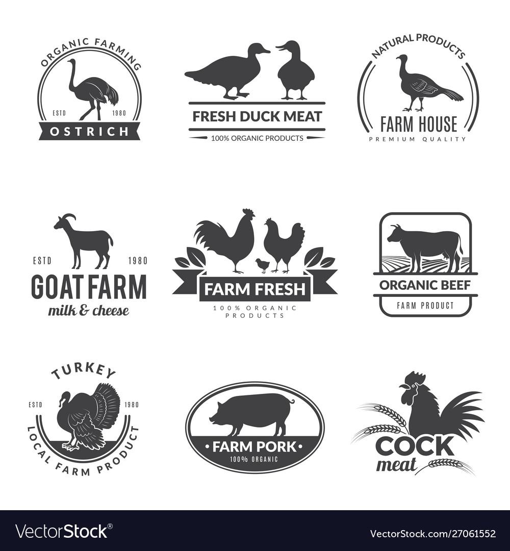 Farm animals logo cow sheep goat symbols