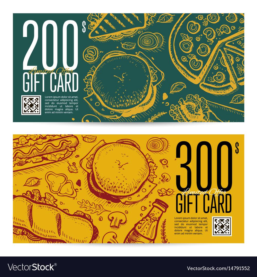 Fast food restaurant gift card set vector image