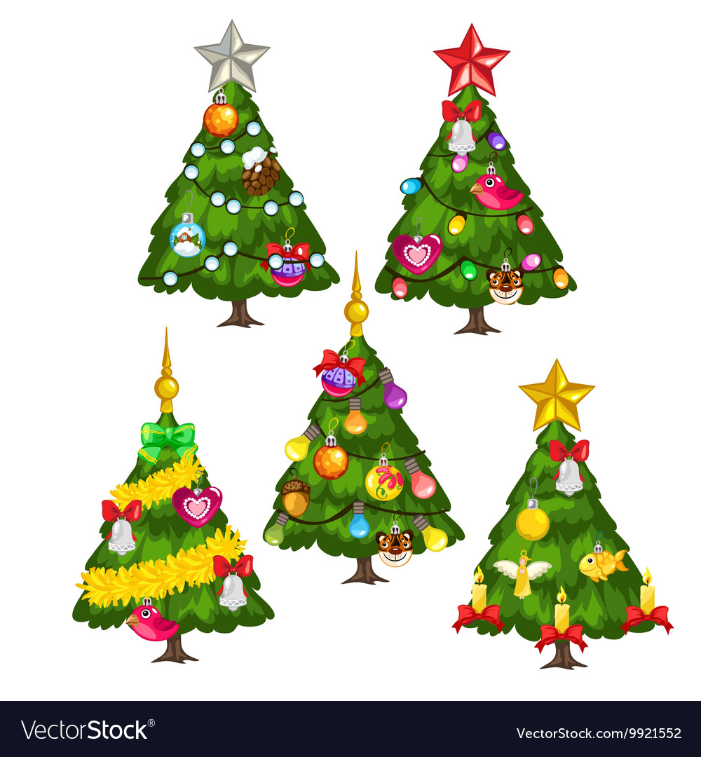 Christmas Tree White Background.Five Green Christmas Trees On White Background