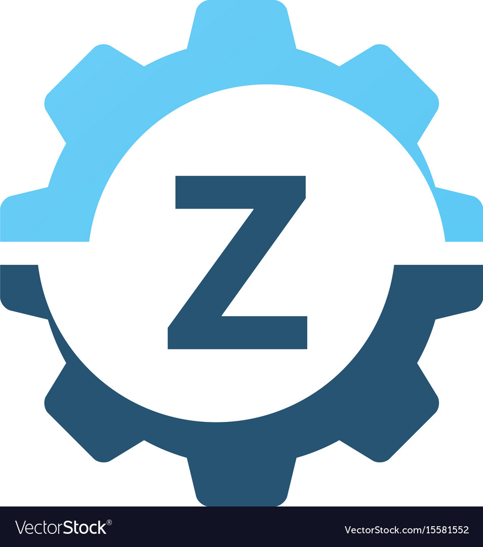 Gear solution logo initial z vector image