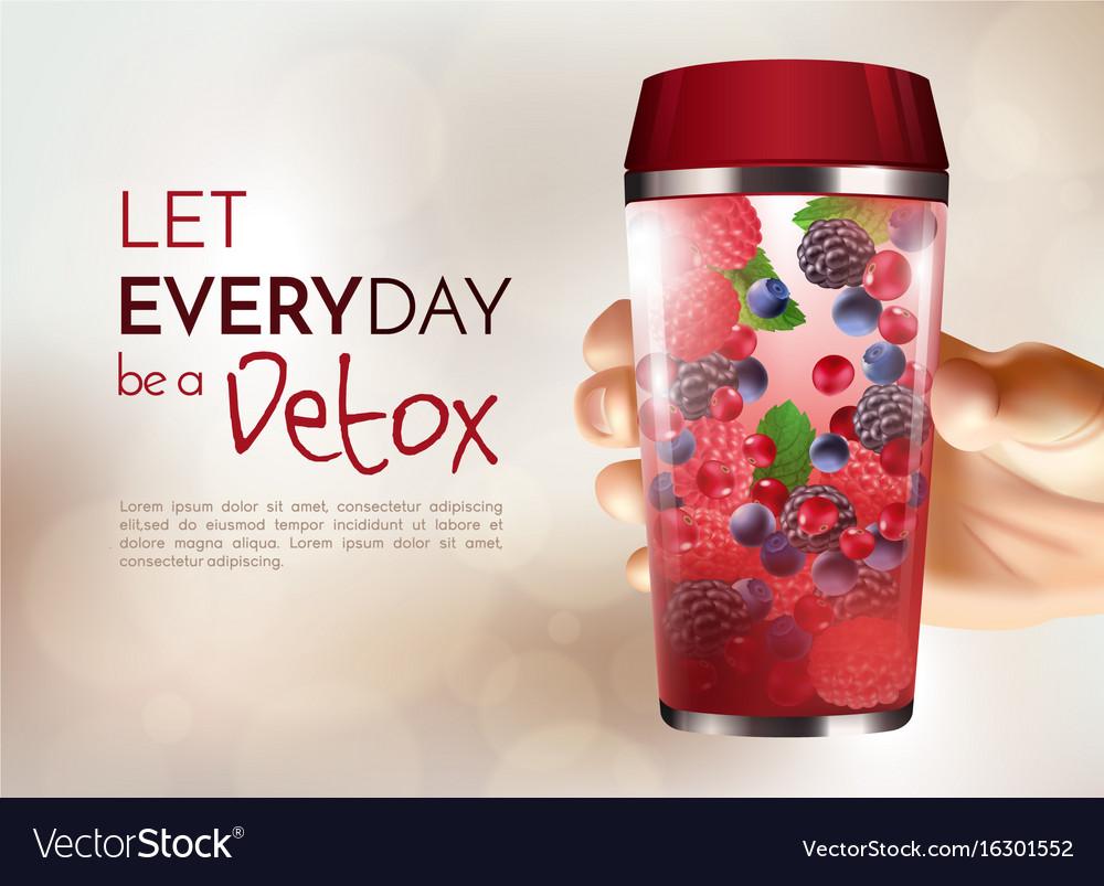 Hand holding detox bottle poster vector image