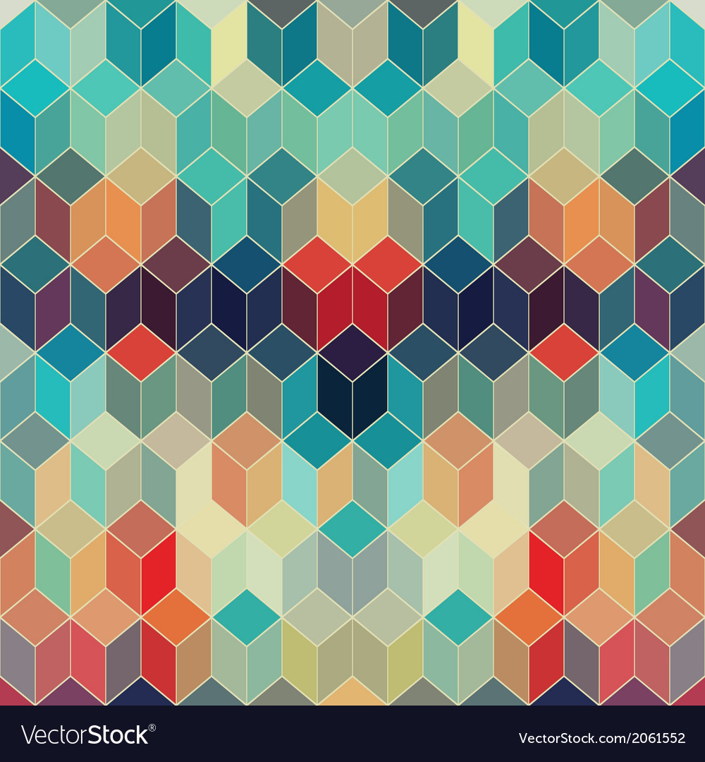 Hipster geometric background made of cubesRetro