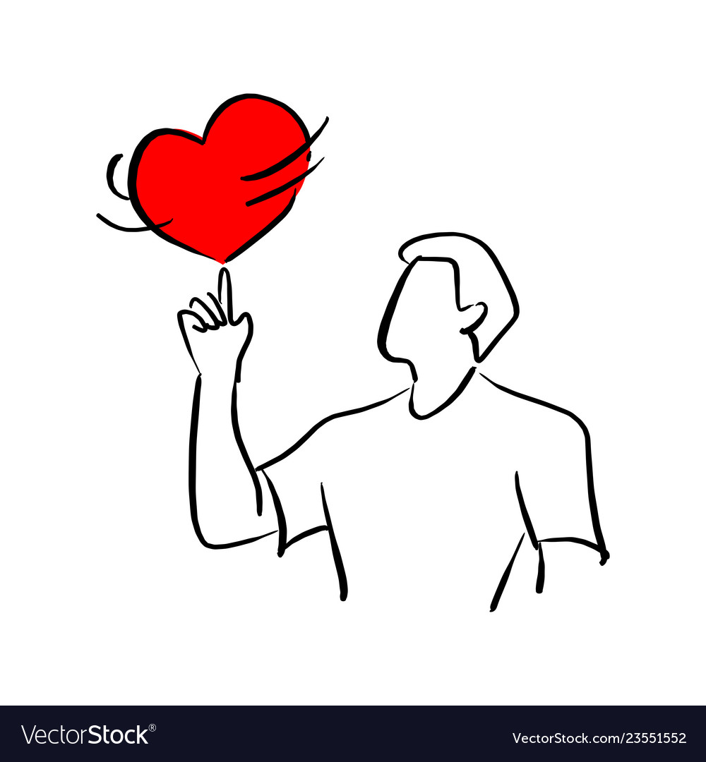 Man spinning red heart shape sign on his finger