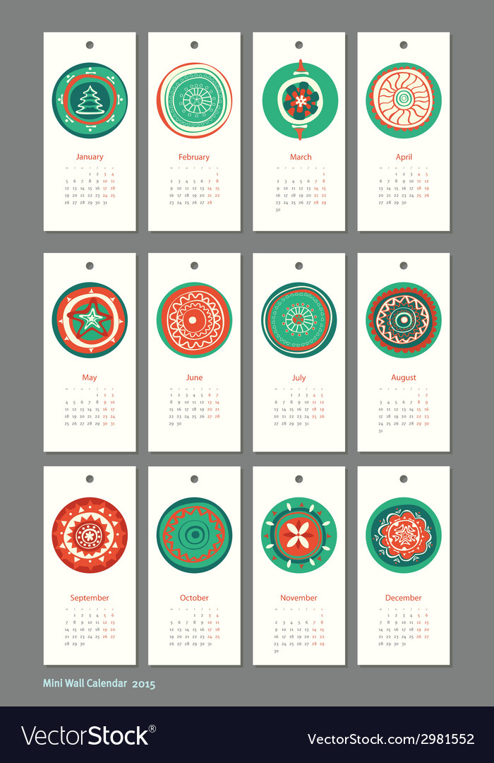 Mini cute calendar 2015 seasons