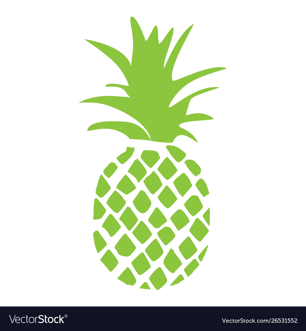 Pineapple tropical fruit silhouette isolated on