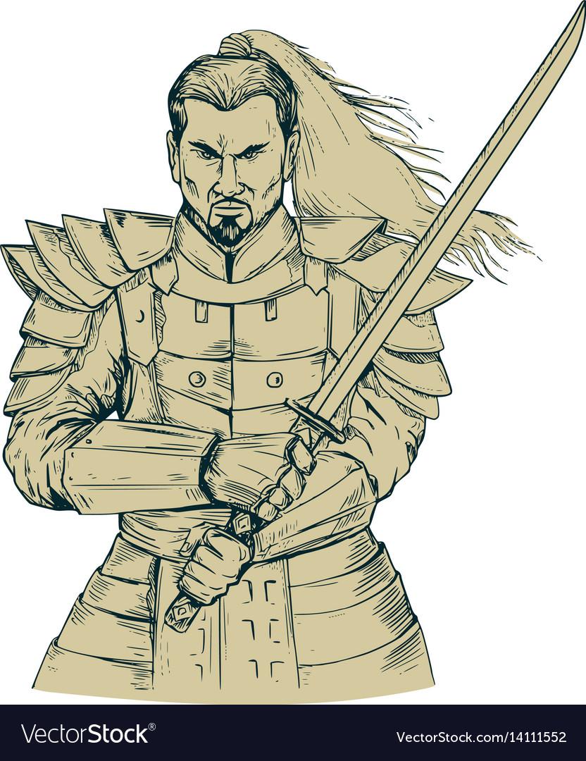 Samurai warrior swordfight stance drawing