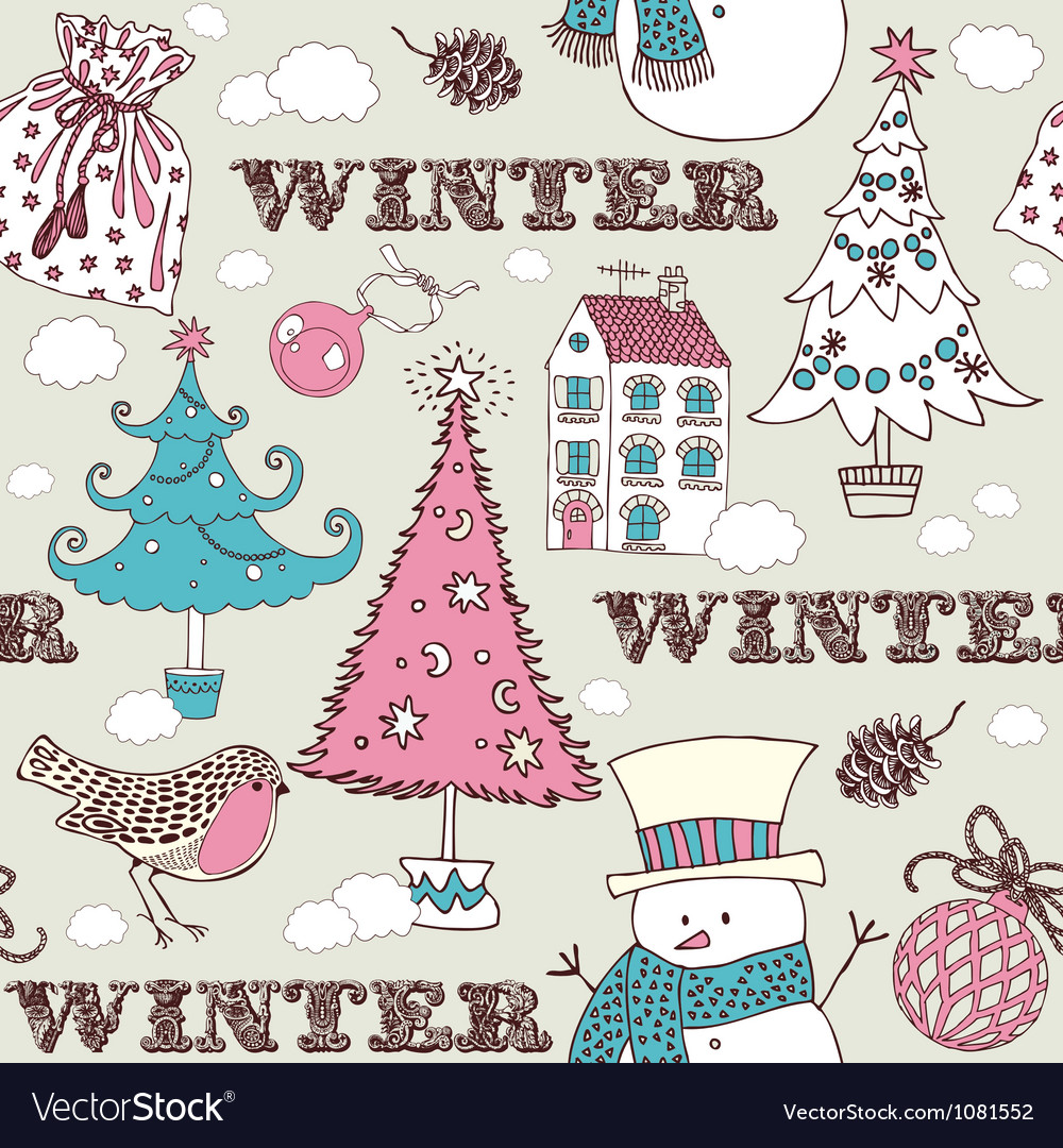 Vintage Christmas Winter pattern