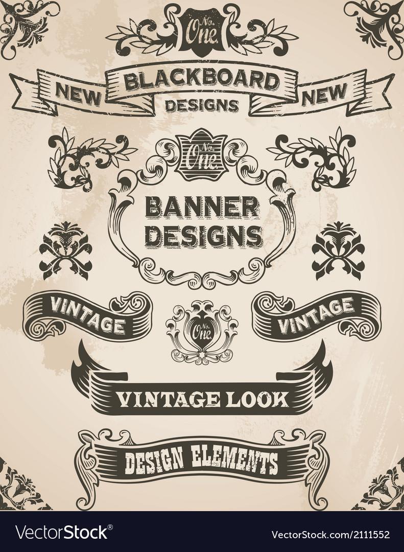 Vintage hand drawn design elements - banner set