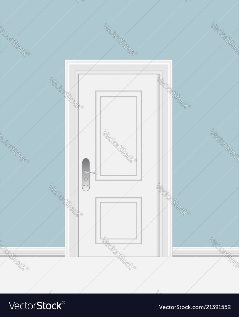 White closed door with frame isolated on
