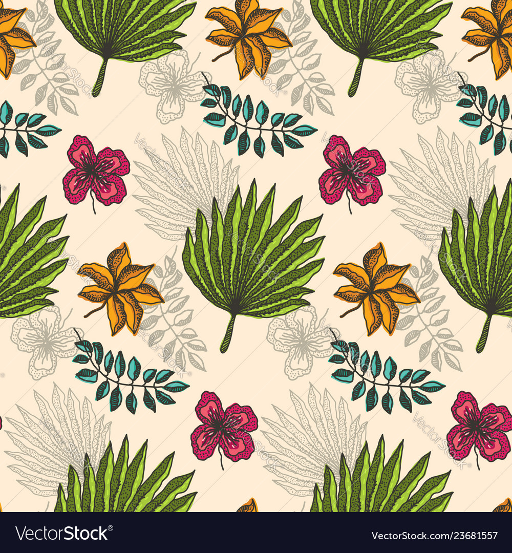 Bright pattern with color tropical leaves on beige